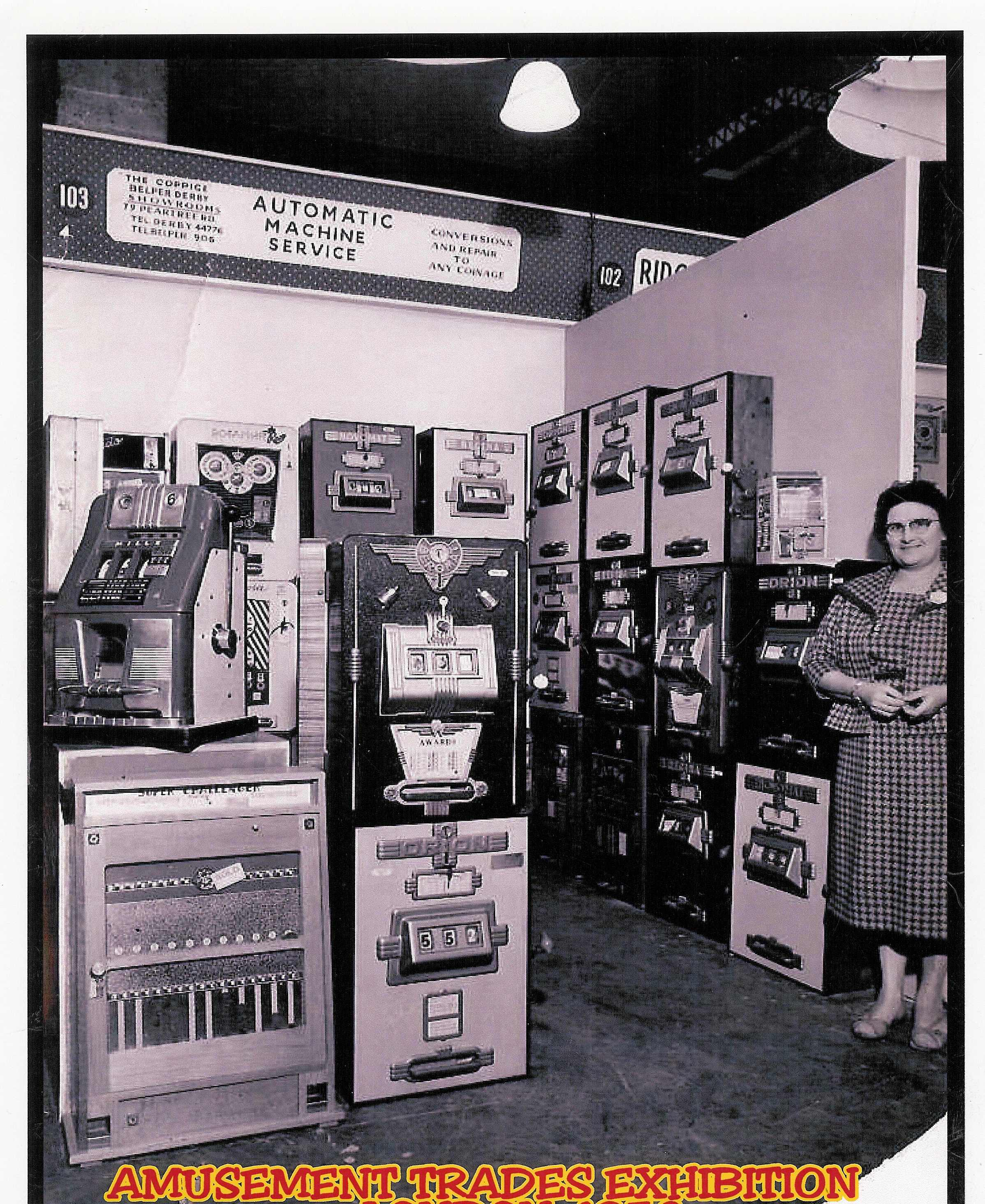 My Mother on our stand at the ATEATE 1959.jpg