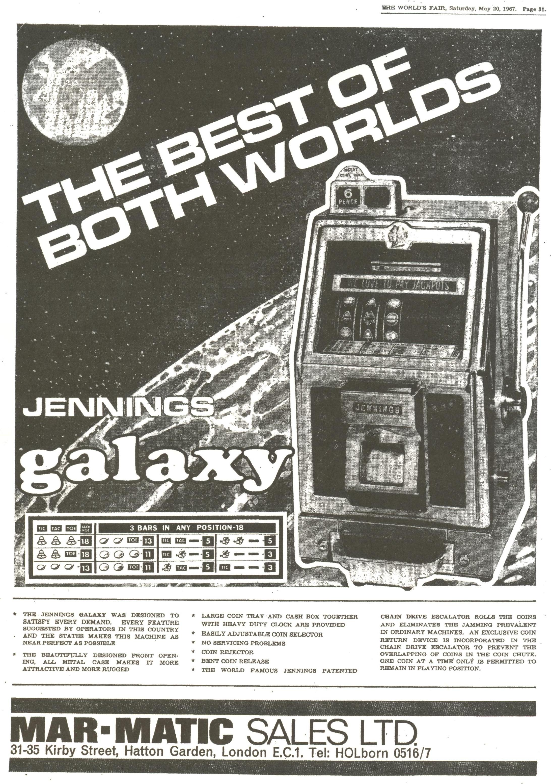 Jennings Galaxy U.K. Slot Machine add May 20th, 1967.jpg